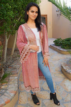 Think Of Me Mauve Pink Lace Midi Duster Cardigan 4