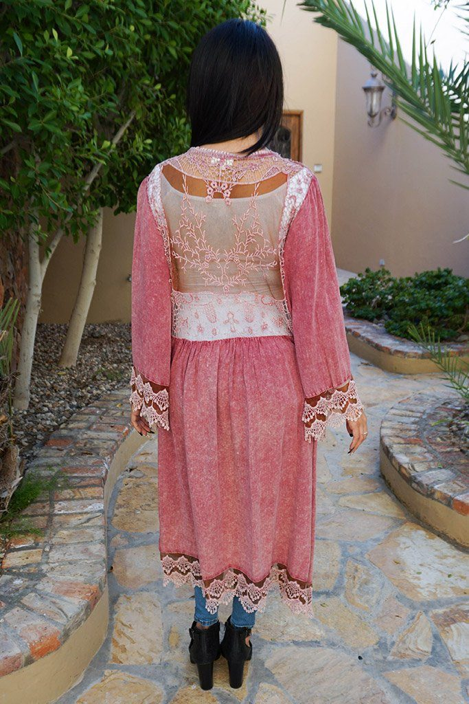 Think Of Me Mauve Pink Lace Midi Duster Cardigan 3