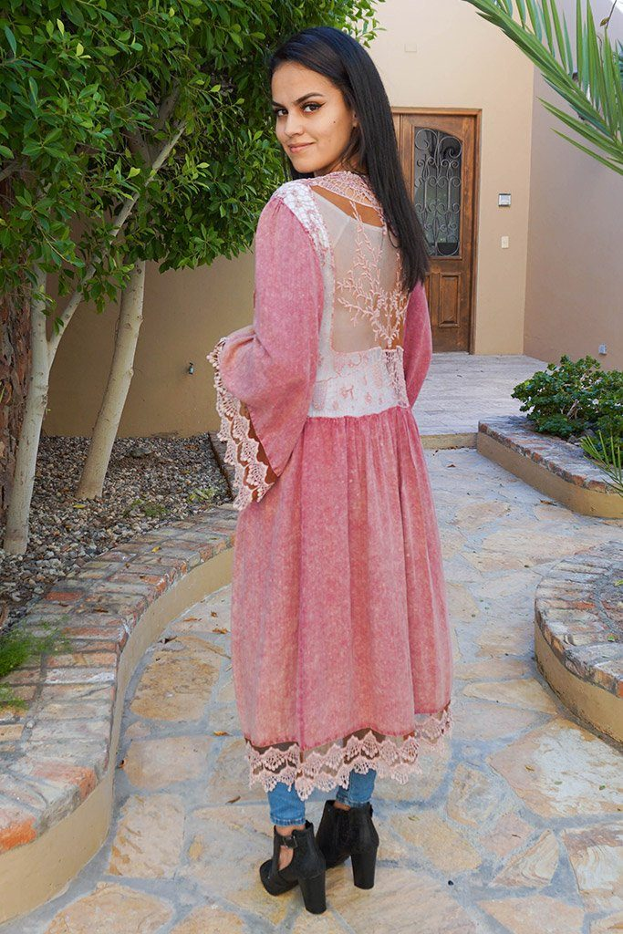 Think Of Me Mauve Pink Lace Midi Duster Cardigan 2