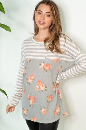 This Feels Right Grey Stripe Floral Tunic 1
