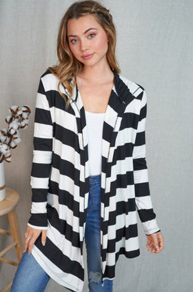 This Is The One Black Striped Hooded Cardigan 1
