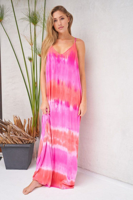 Tie Dye My World Pink Multi Racerback Maxi Dress 1