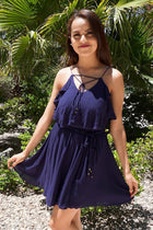 Tied Forever Together Navy Blue Lace-Up Dress 1