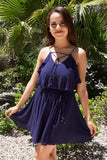 Tied Forever Together Navy Blue Lace-Up Dress