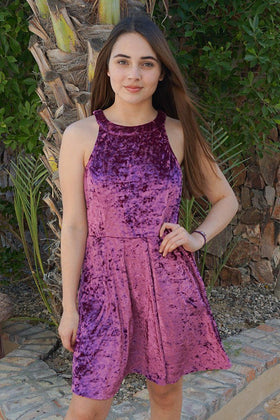 Time Of Love Wine Velvet Halter Skater Dress 1