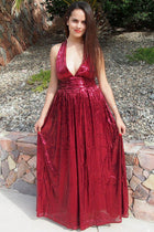 Timeless Story Burgundy Sequin Cutout Maxi Dress 4