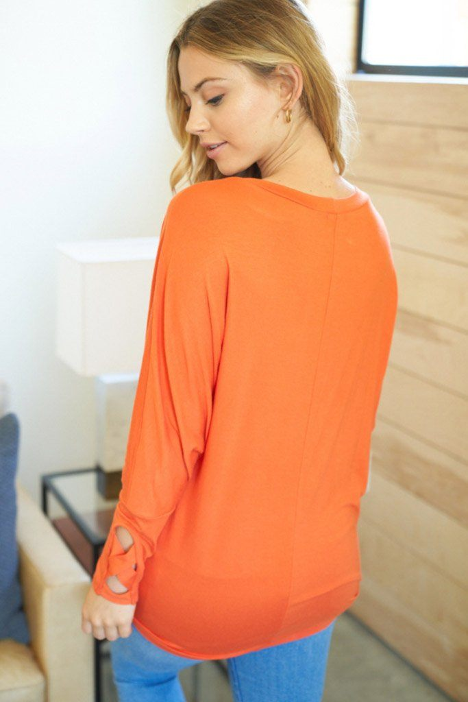 Totally Worth It Orange Long Sleeve Tunic Top 2