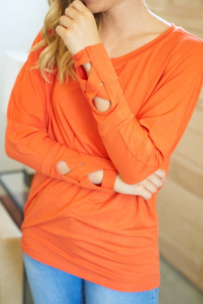 Totally Worth It Orange Long Sleeve Tunic Top 3