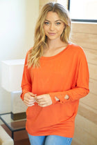 Totally Worth It Orange Long Sleeve Tunic Top 1