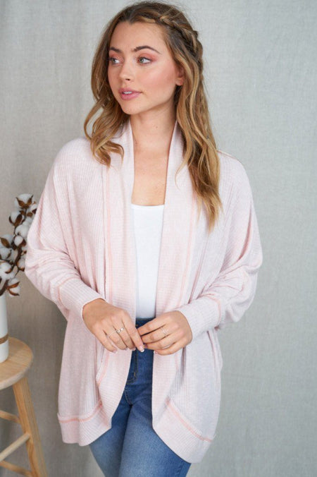 Touch Of Sweetness Blush Pink Ribbed Knit Cardigan 1