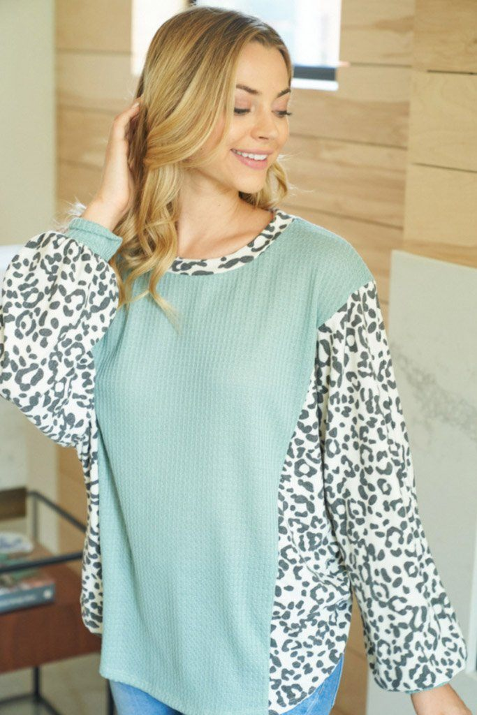 Trend Setting Cheetah Print Sage Open Back Top 3