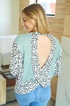 Trend Setting Cheetah Print Sage Open Back Top 1