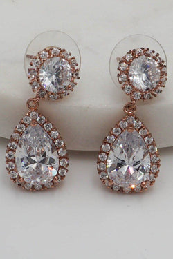 True Affection Rose Gold Crystal Faceted Teardrop Earrings 1