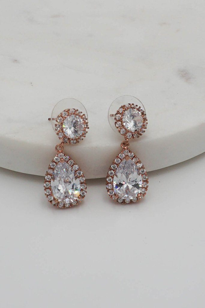 True Affection Rose Gold Crystal Faceted Teardrop Earrings 3
