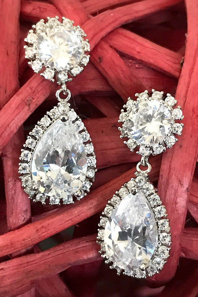 True Affection Silver Crystal CZ Mini Teardrop Drop Earrings 1