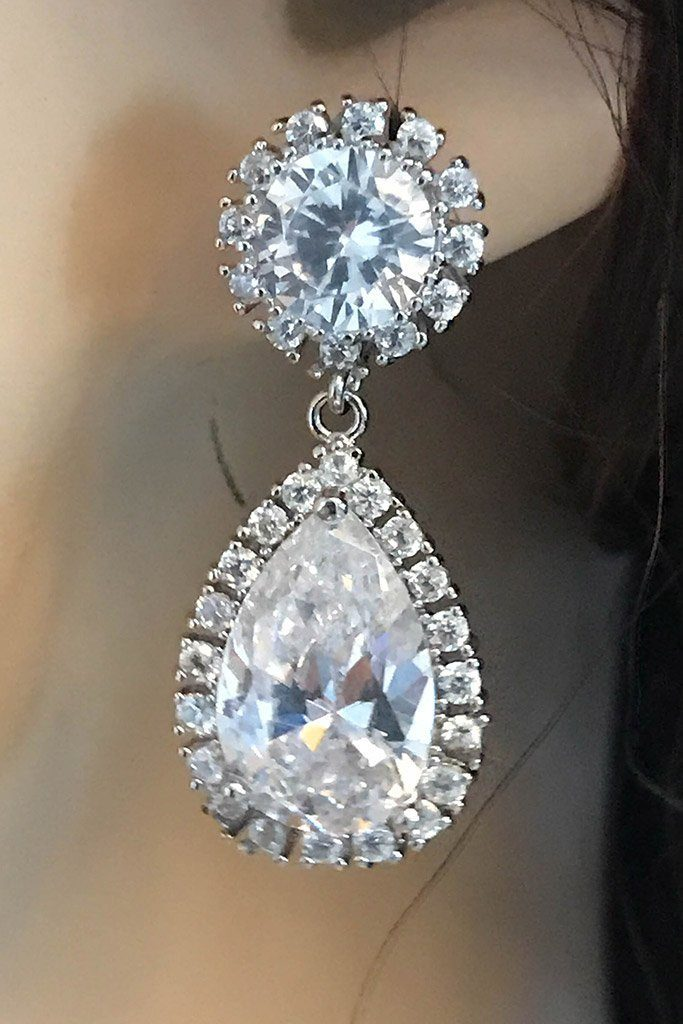 True Affection Silver Crystal CZ Mini Teardrop Drop Earrings 2