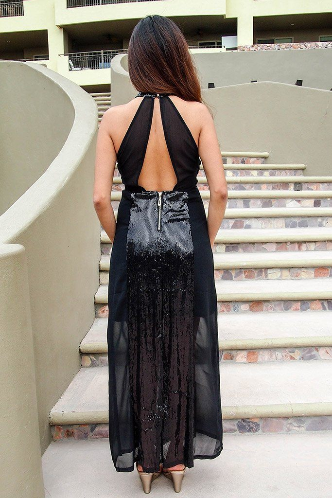 True Love Black Sequin Halter Maxi Dress 3