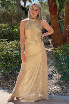 True Love Gold Sequin Halter Maxi Dress 3