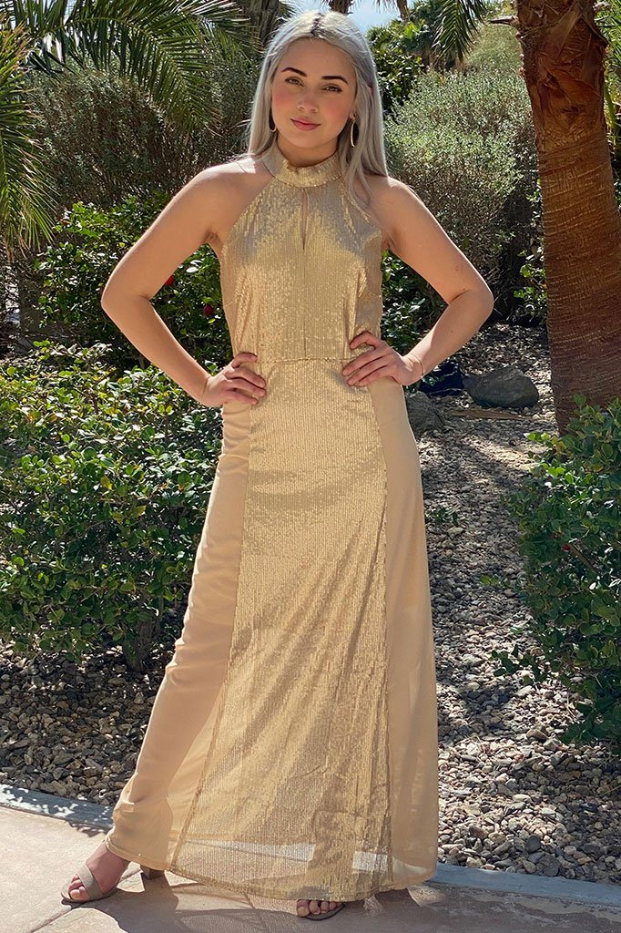 True Love Gold Sequin Halter Maxi Dress 1