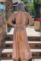 True Love Rose Gold Pink Sequin Halter Maxi Dress 2