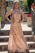 True Love Rose Gold Pink Sequin Halter Maxi Dress 1