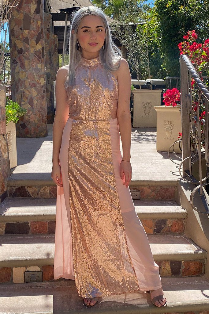 True Love Rose Gold Pink Sequin Halter Maxi Dress 4