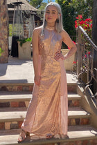 True Love Rose Gold Pink Sequin Halter Maxi Dress 3