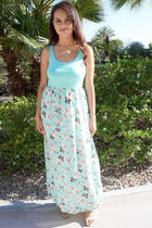 Turn On The Charm Mint Blue Floral Print Maxi Dress 4