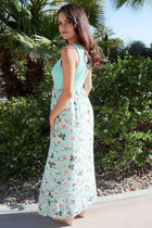 Turn On The Charm Mint Blue Floral Print Maxi Dress 2