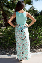 Turn On The Charm Mint Blue Floral Print Maxi Dress 3