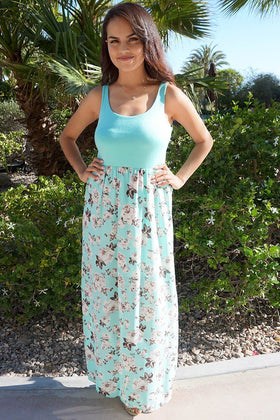 Turn On The Charm Mint Blue Floral Print Maxi Dress 1