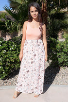 Turn On The Charm Peach Floral Print Maxi Dress 1