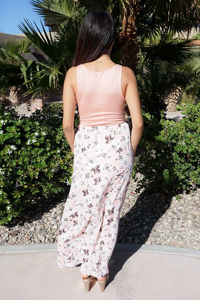Turn On The Charm Peach Floral Print Maxi Dress 3