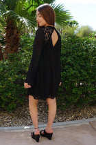 Unforgettable Evening Black Lace Silk Shift Dress 2