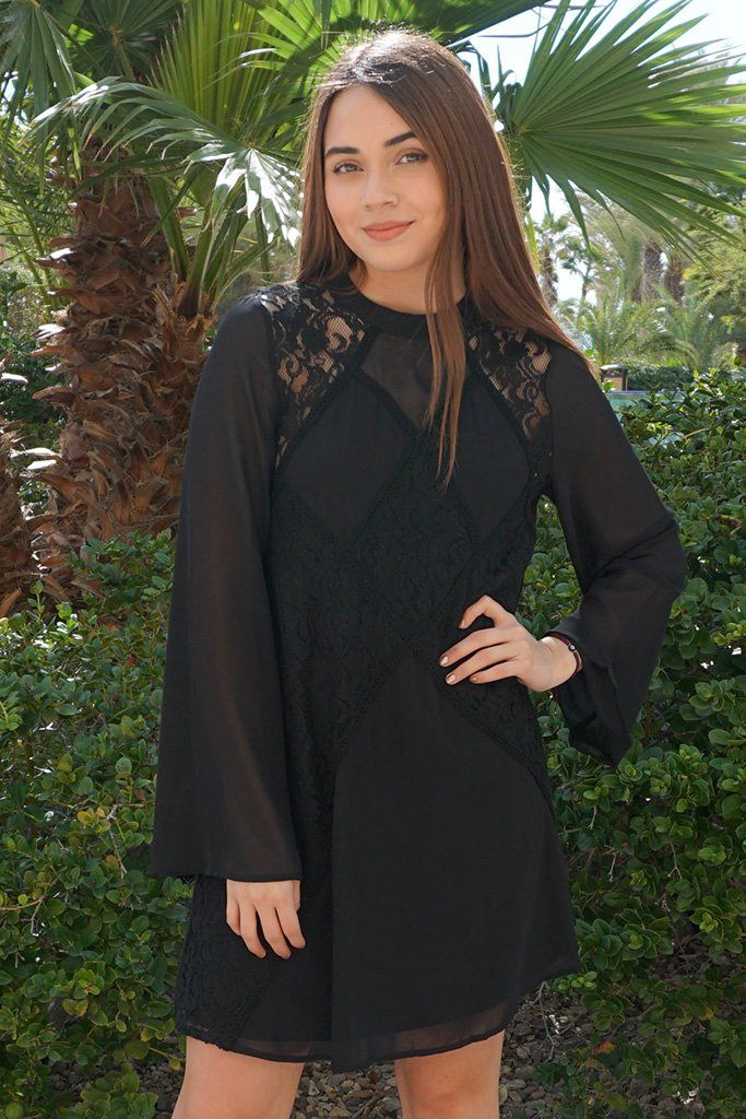Unforgettable Evening Black Lace Silk Shift Dress 1