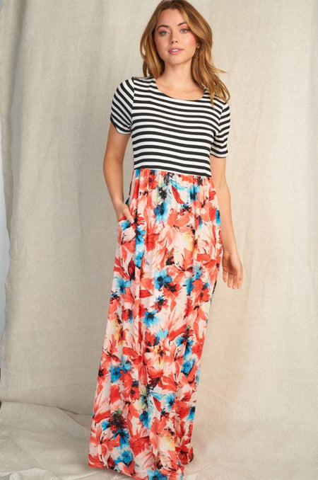 Vacay Babe Coral Stripe Floral Print Maxi Dress 1