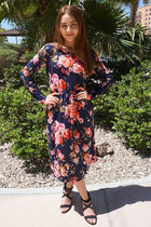 Vision Of Beauty Navy Blue Floral Print Midi Dress 4