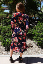 Vision Of Beauty Navy Blue Floral Print Midi Dress 3
