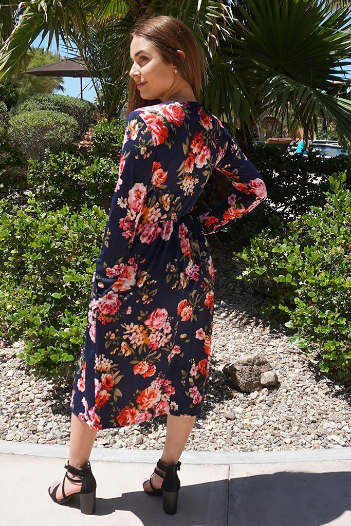 Vision Of Beauty Navy Blue Floral Print Midi Dress 2