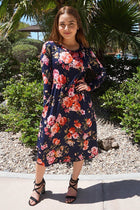 Vision Of Beauty Navy Blue Floral Print Midi Dress 1