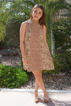 Walk This Way Beige Brown Floral Print Swing Dress 4