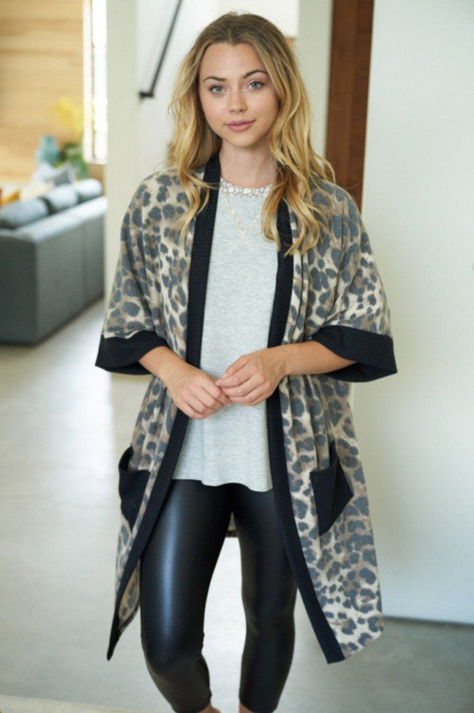 Walk With Me Black Leopard Print Long Cardigan Sweater 4