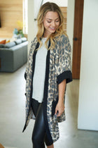 Walk With Me Black Leopard Print Long Cardigan Sweater 3
