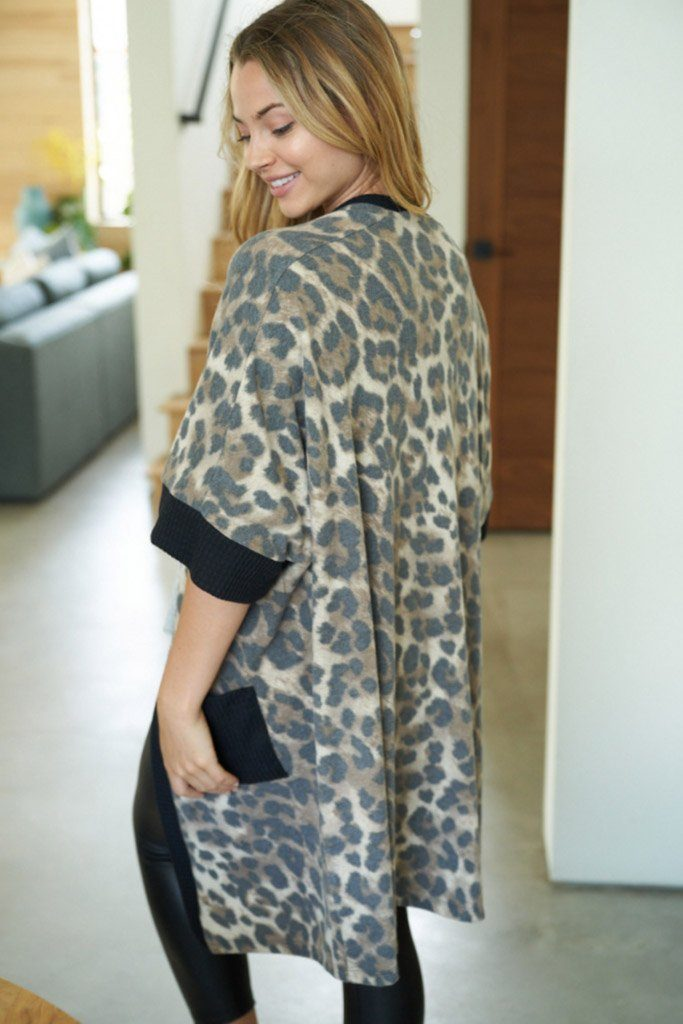 Walk With Me Black Leopard Print Long Cardigan Sweater 2