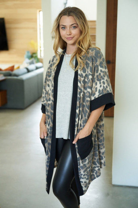 Walk With Me Black Leopard Print Long Cardigan Sweater 1