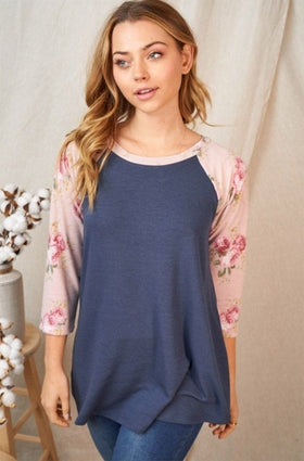 Watch Me Blossom Navy 3/4 Sleeve Floral Top 1