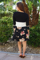 Watch The Sunset Black And White Floral Print Stripe Swing Dress 3