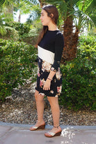 Watch The Sunset Black And White Floral Print Stripe Swing Dress 2