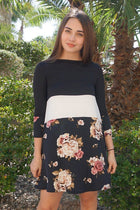 Watch The Sunset Black And White Floral Print Stripe Swing Dress 1
