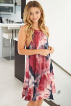 What You Wanted Burgundy Multi Tie Dye Dress 3